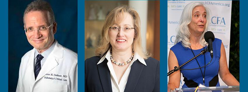 Dr. Steve Dubinett, Dr. Julie Brahmer, Kim Norris, President, LCFA