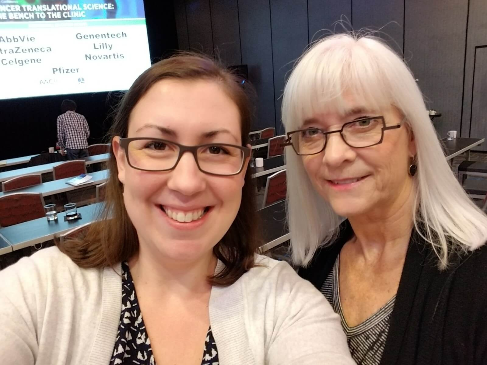 Alice Berger, lung cancer research grant recipient, with Kim Norris