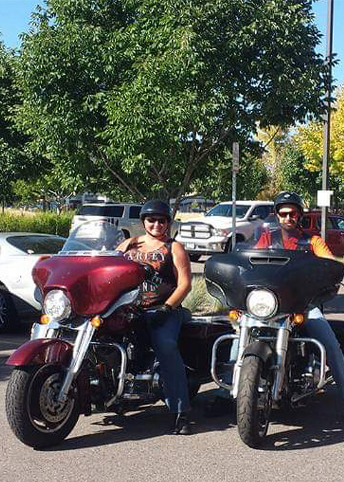 Shelly on her motorcycle
