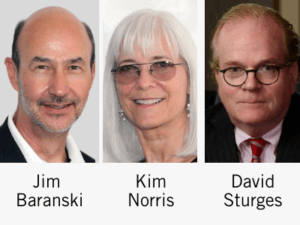 Photos of Jim Baranski, Kim Norris and David Sturges
