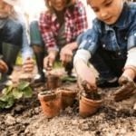 photo of family gardening