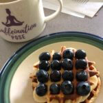 Blueberry waffles and coffee for brunch