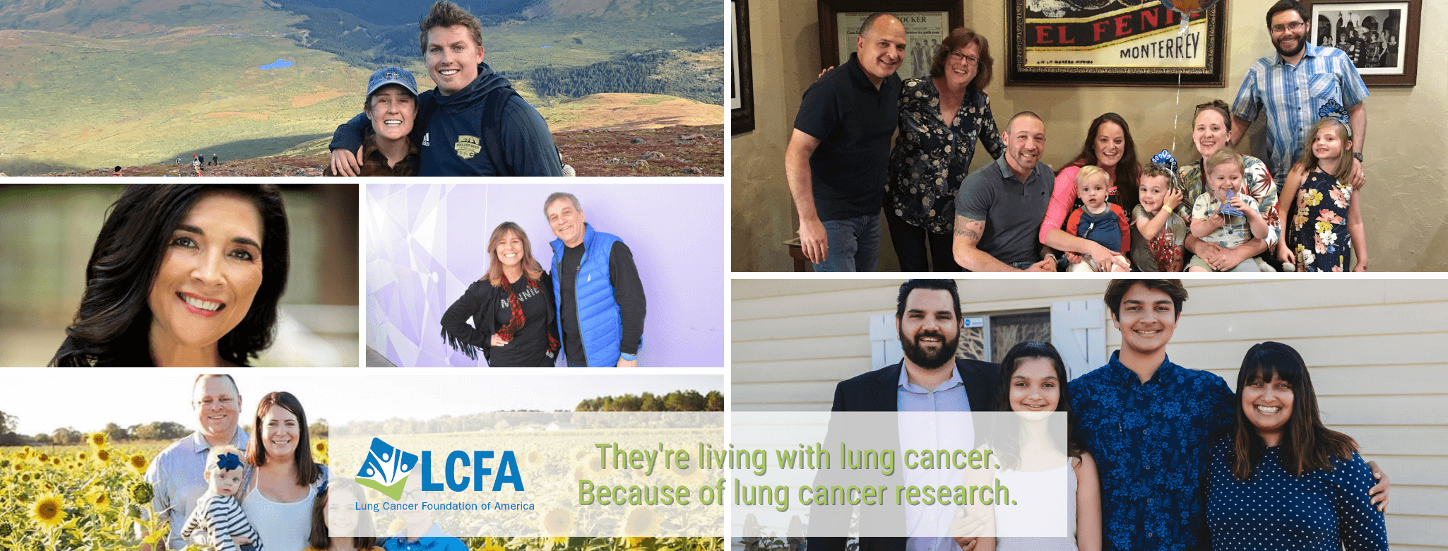 Photo collage of people living with lung cancer thanks to research.