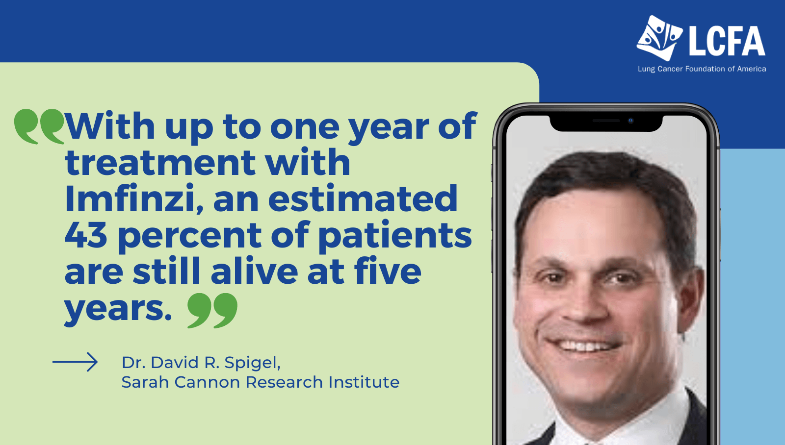 With up to 1 year of treatment with imfinzi, an estimated 43% of patients are still alive at 5 years.