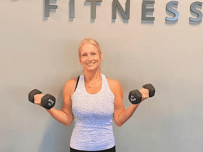 Lindi Campbell at a fitness center