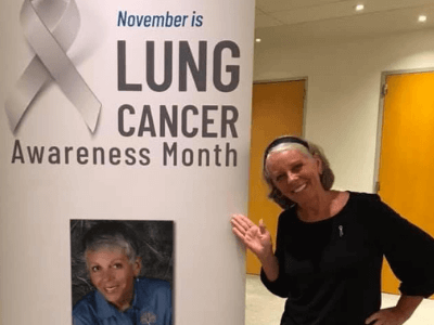 Dusty Donaldson advocating during Lung Cancer Awareness Month