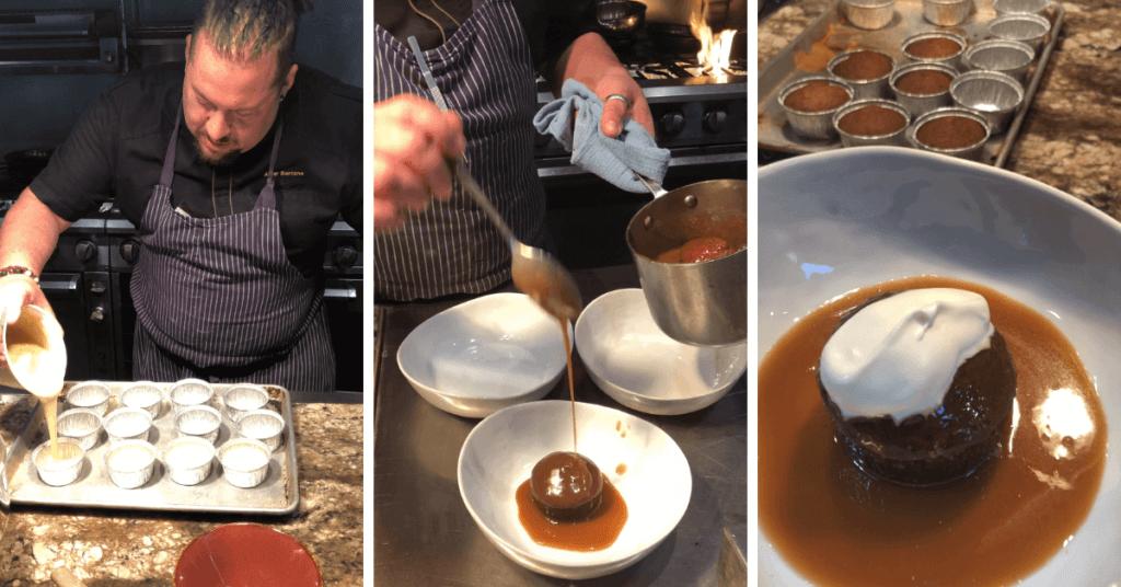 Chef Amar preparing Sticky Toffee Pudding